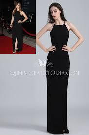 elegant black spaghetti strap open back slit sheath olivia wilde