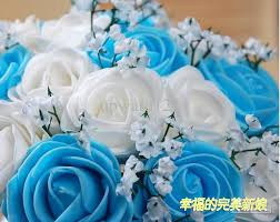 wedding flowers blue beautiful wedding bouquet artificial 30 flowers purple
