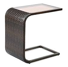 Wicker Accent Table Modern Wicker C Shaped Accent Table All Weather