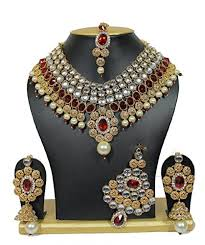 Buy Designer Gold Plated Golden Most Beautiful Gold Plated White Pearls Red Golden Bridal Https
