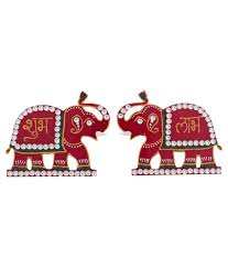 Snapdeal Home Decor Creative Home Decor Red Acrylic Elephant Design Shubh Labh Set Of