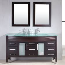 amazon com 63 inch espresso wood u0026 glass double sink bathroom