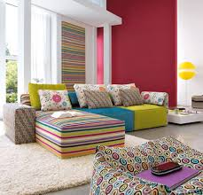 White Fur Ottoman by Living Room Modern Colorful Living Room Interior Decorations