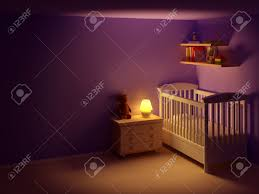baby s bedroom with commode and bear at night empty room night baby s bedroom with commode and bear at night empty room night scene stock photo