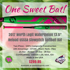 worth legit slowpitch softball bat 2017 worth legit watermelon 13 5 xl reload usssa slowpitch
