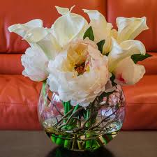 Peony Arrangement Large White Silk Peony Real Touch Calla Lily Arrangement U2013 Flovery