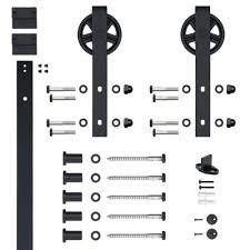 sliding barn door track and rollers hook strap black rolling barn door hardware kit with 5 in wheel