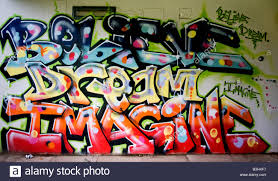 words on painted wall mural stock photo royalty free image graffiti words believe dream imagine painted on an underpass wall stock