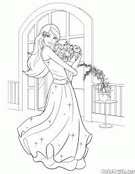coloring page barbie and a bouquet of flowers
