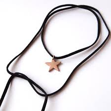 black rope choker necklace images Black long rope choker necklace gold star jpg