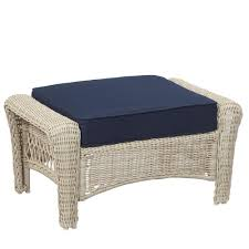 White Wicker Patio Chairs Hampton Bay Park Meadows Off White Wicker Outdoor Ottoman With