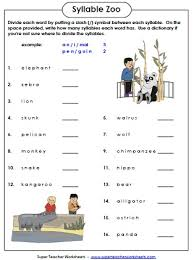 syllable zoo is a fun phonics worksheet in which students count
