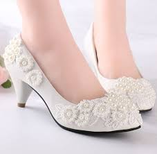 wedding shoes low heel pumps pearls flower lace wedding shoes for women milk white light ivory