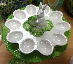small deviled egg plate deviled egg plate with a bunny in the center someone