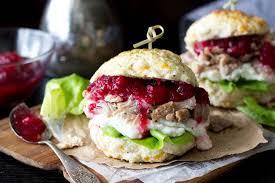 biscuit turkey mashed potato cranberry sandwich