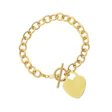 gold bracelet with charms images Fremada 14k yellow gold heart charm on rolo link bracelet 7 25 jpg