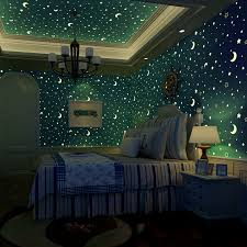 Bedroom With Stars Non Woven Luminous Wallpaper Roll Stars And The Moon Boys And
