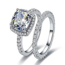 girl wedding rings images 3ct cushion vvs1 clear synthetic diamonds female wedding ring with jpg