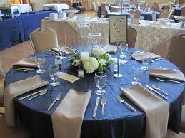 White Hydrangea Centerpiece by Glencoe City Center Deep Blue Table Cloth Table Setting White