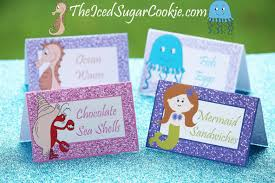 diy glitter purple mermaid birthday party food label tent cards