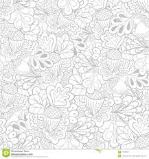 White Oak Texture Seamless Black And White Outline Oak Elements Seamless Pattern Stock Vector
