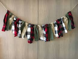 lumberjack party fabric garland plaid burlap banner party