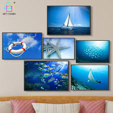 Marine Home Decor Online Get Cheap Marine Life Painting Aliexpress Com Alibaba Group