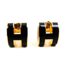 h earrings 100 auth hermes pop h enamel earrings palladium black gold plated