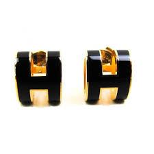 100 auth hermes pop h enamel earrings palladium black gold plated