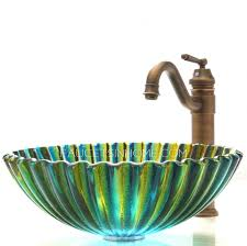 green glass vessel bathroom sinks art glass vessel sinks shell shape blue and green