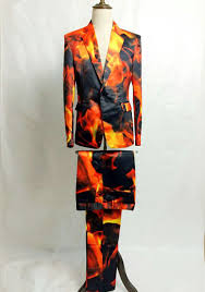 Mens Clothes For Clubbing New Fashion Men Fire Design Print Suits Male Singer Stage Show