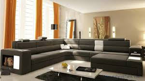 Real Leather Sofa Sale Sale Modern Orange Sofa Set Large Size U Shaped Villa Couches