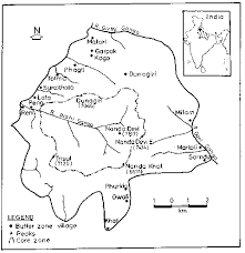 location and sketch map of nanda devi biosphere reserve in india
