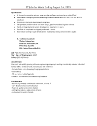 Sample Resume For Retail Manager Position by It Job Posting For Week Ending August 1st 2015