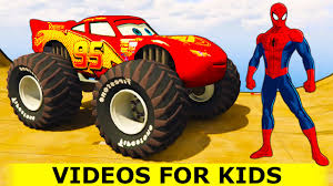 monster trucks videos spiderman with lightning mcqueen monster truck in cars cartoon
