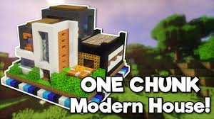 minecraft modern house in one chunk youtube