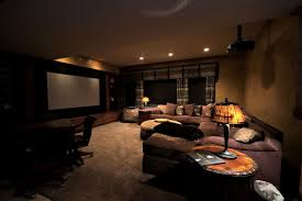 Media Room Sofa Sectionals - interior impressive home theater room decor feat dark brown