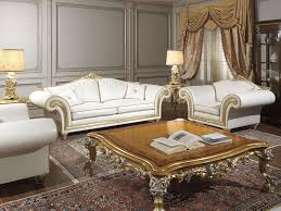 imperial classic living room in white leather vimercati classic