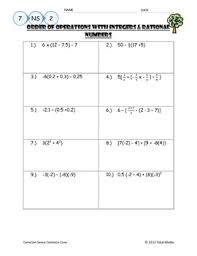 Order Of Operations Worksheet Answers Order Of Operations With Rational Numbers Worksheet By April Langelett