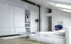 Bedroom Furniture Wall Cabinet Close Up Fully Furnished Architectural White Bedroom With White