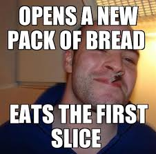 The First Meme - eats the first slice funny meme funny memes