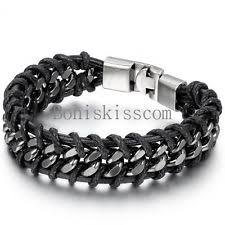 stainless steel black bracelet images Men 39 s stainless steel bracelets ebay jpg