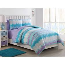 vcny home pink lemonade tie dye bed in a bag comforter set with