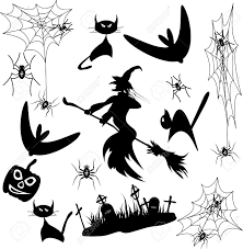 vector set halloween bat cat spider witch pumpkin royalty