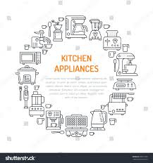 kitchen small appliances equipment banner illustration stock
