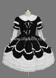 cheap beautiful cotton black and white gothic dress