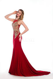 gorgeous gold embroidered ruby sleeveless mermaid long formal prom
