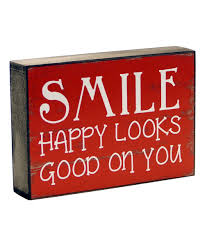 look at this red u0027smile u0027 wood box sign on zulily today