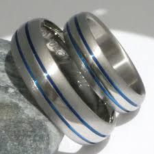 matching wedding band sets matching blue titanium ring set stb4 titanium rings studio