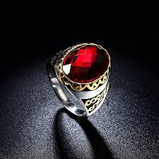 mens rings ruby images Dilanco men 39 s oval ruby rings with 14k gold plated size 9 11 jpg